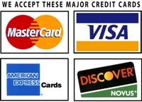 We now accept Visa, MasterCard, American Express and Discover credit cards